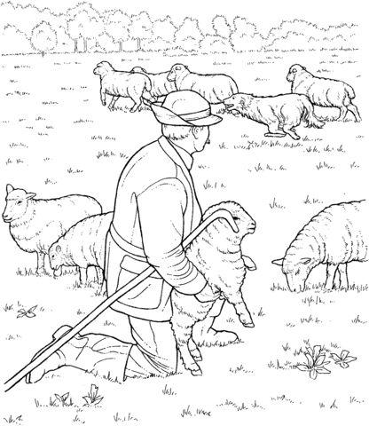 Rebanho de ovelhas e pastor Página para colorir