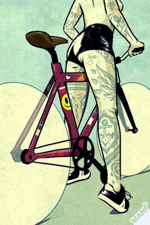 Tattoo Girl on a nice bike!