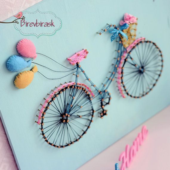 Bike+String+Art+.+Wall+hanging++Bike+++Home+decor++by+BIREVBIRASK pastel colors cute city bike and balloons,  pink bike,  bike card,  gift for biker, vintage Pinterest  @jestemkomarem