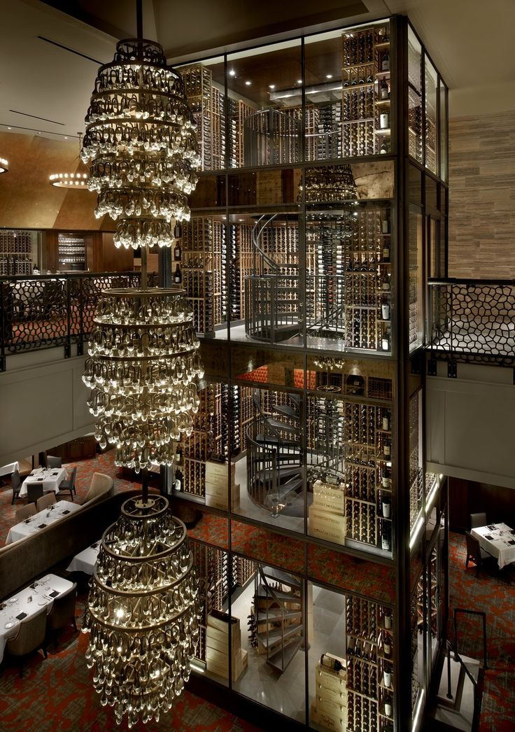 Del Frisco's Double Eagle Steakhouse, Chicago Chicago's Aria Group Architects designed a 50-foot-tall, 20,000-bottle wine tower to span two floors of this celebrated steak house's atrium, which is anchored by a massive three-tier chandelier. delfriscos.com