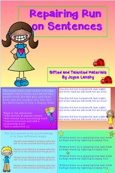how to repair run on sentences essay Many writers use incomplete sentences how to avoid writing sentence fragments which is a comma splice (a run-on) sentence 1.