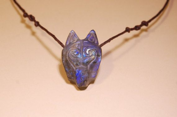 Wolf Necklace Labradorite Necklace Very Special by shamanstones