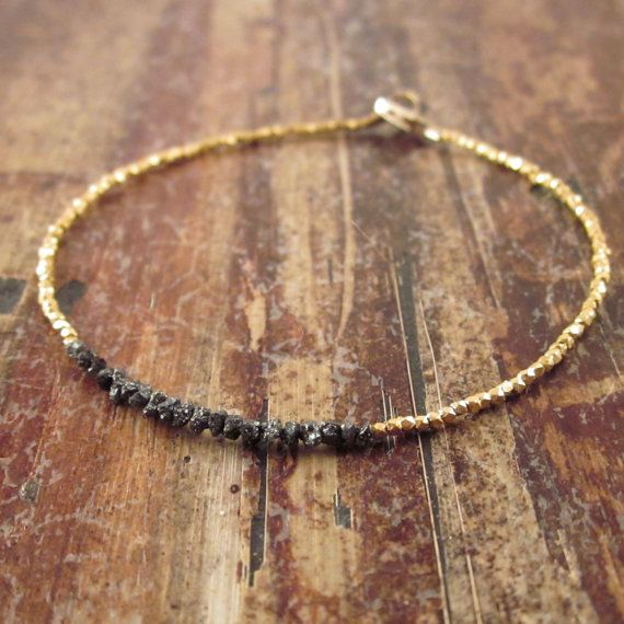 April Birthstone Black Diamonds in the Rough Diamond Bracelet 24K Yellow Gold Vermeil Beads Beaded Bracelet Woman's Beadwork Bracelet
