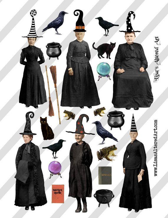Digital Collage Sheet Vintage Halloween Witch by lisasalteredart, $2.00