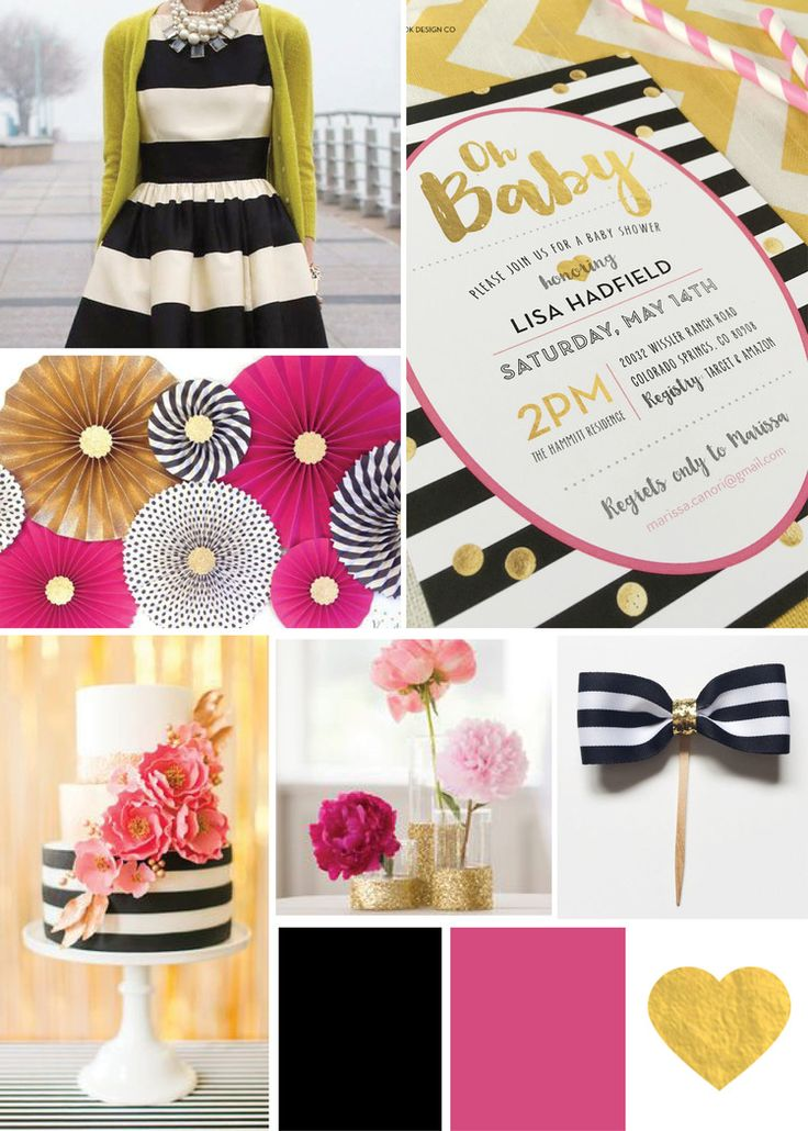 Kate Spade inspired baby shower, black and white stripe invitation, kate spade…