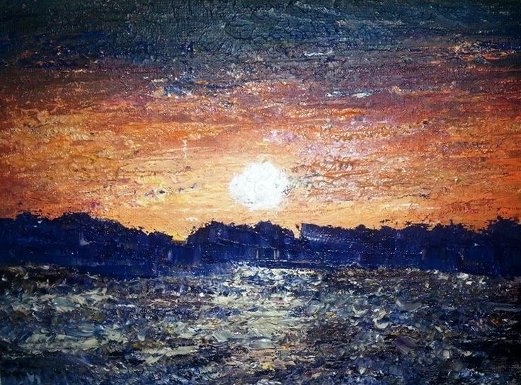 Sunset - Oil on canvas - 5 x 7, done with palettes.  Marlene Luscombe November 2014
