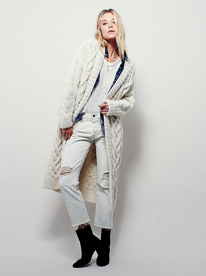Free People Chunky Cable Cardigan at Free People Clothing Boutique