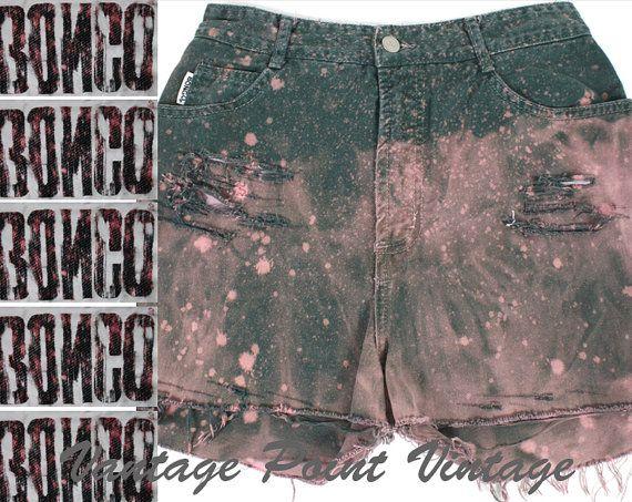 Shorts taille haute de vintage des années 90 en détresse détruit de Denim Jeans BONGO Galaxy blanchis Dip teints Grunge Revival Indie Festiv...