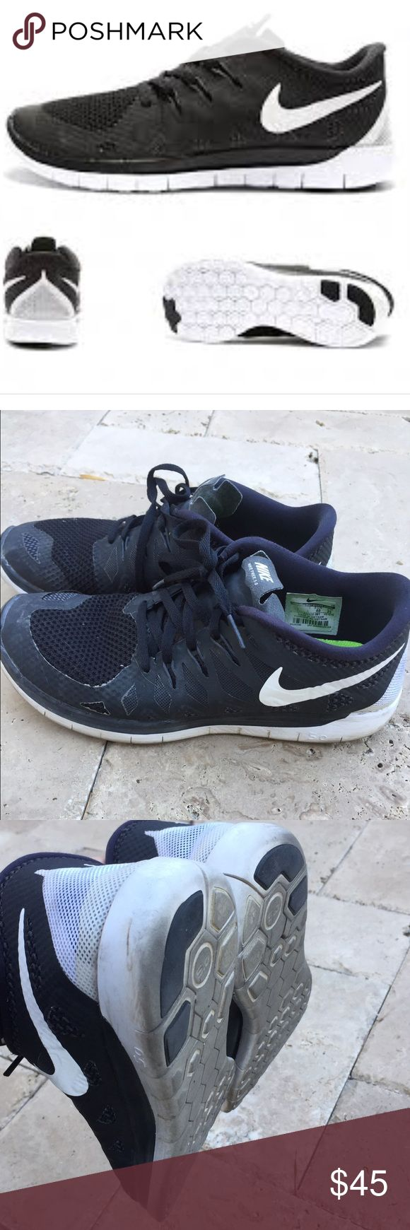 Nike free runners 5.0 in black size 7Y Gently used and in excellent condition. Only worn for about 6 month and maybe 1-2 a wk max. I rotate all my nikes throughout the wk. I have original box as well. I usually wear a 7.5 in women's nikes and 7 youth in juniors size. Nike Shoes Athletic Shoes