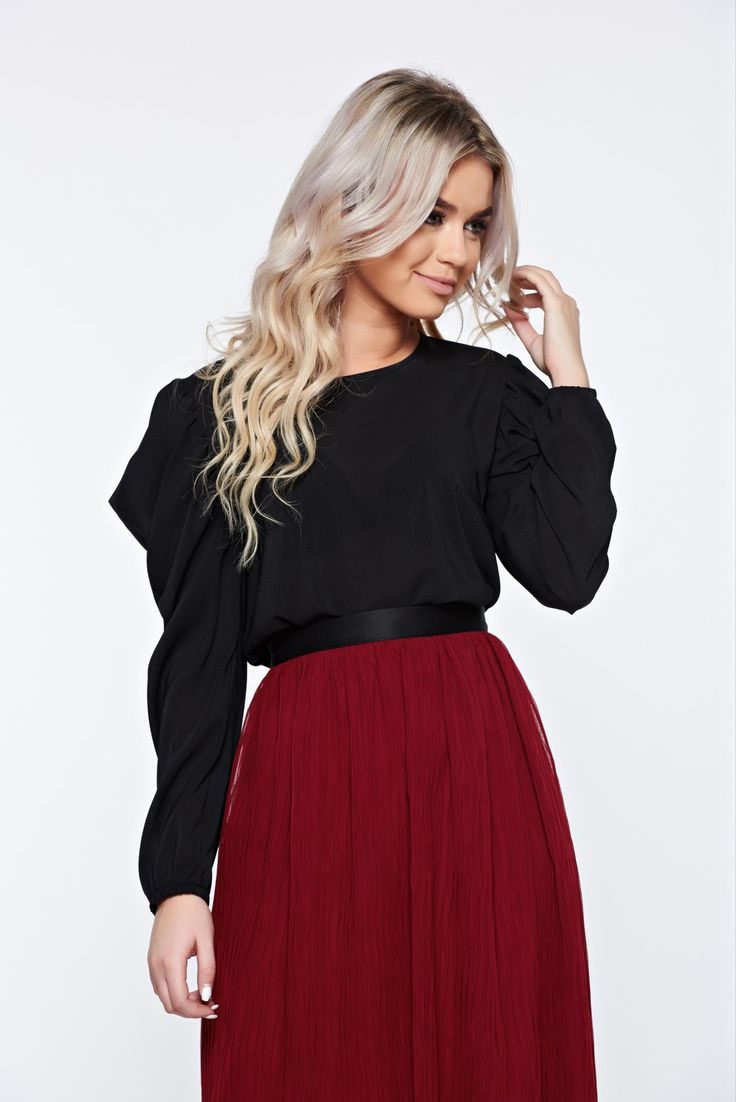 """StarShinerS black elegant women`s blouse with butterfly sleeves, women`s blouse, """"butterfly"""" type sleeves, lace details, wrinkled texture, scuba, double knit from neoprene with vivid and colourful or 3D prints"""