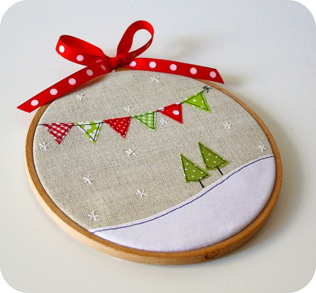 stitched christmas scene, could translate into a card?