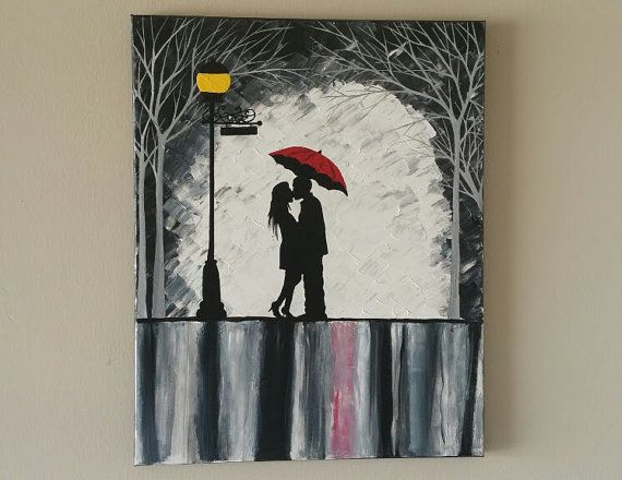 Original Couple in rain painting, Couple kissing in the rain wall art, couple with red umbrella painting, couple silhouette painting 16x20