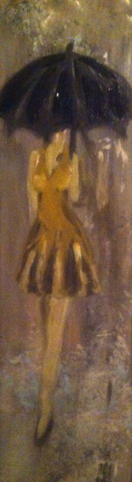 Dame in de regen l acryl eiken l schilderen op hout l 09-03-2015 l mariellevanleeuwen@live.nl