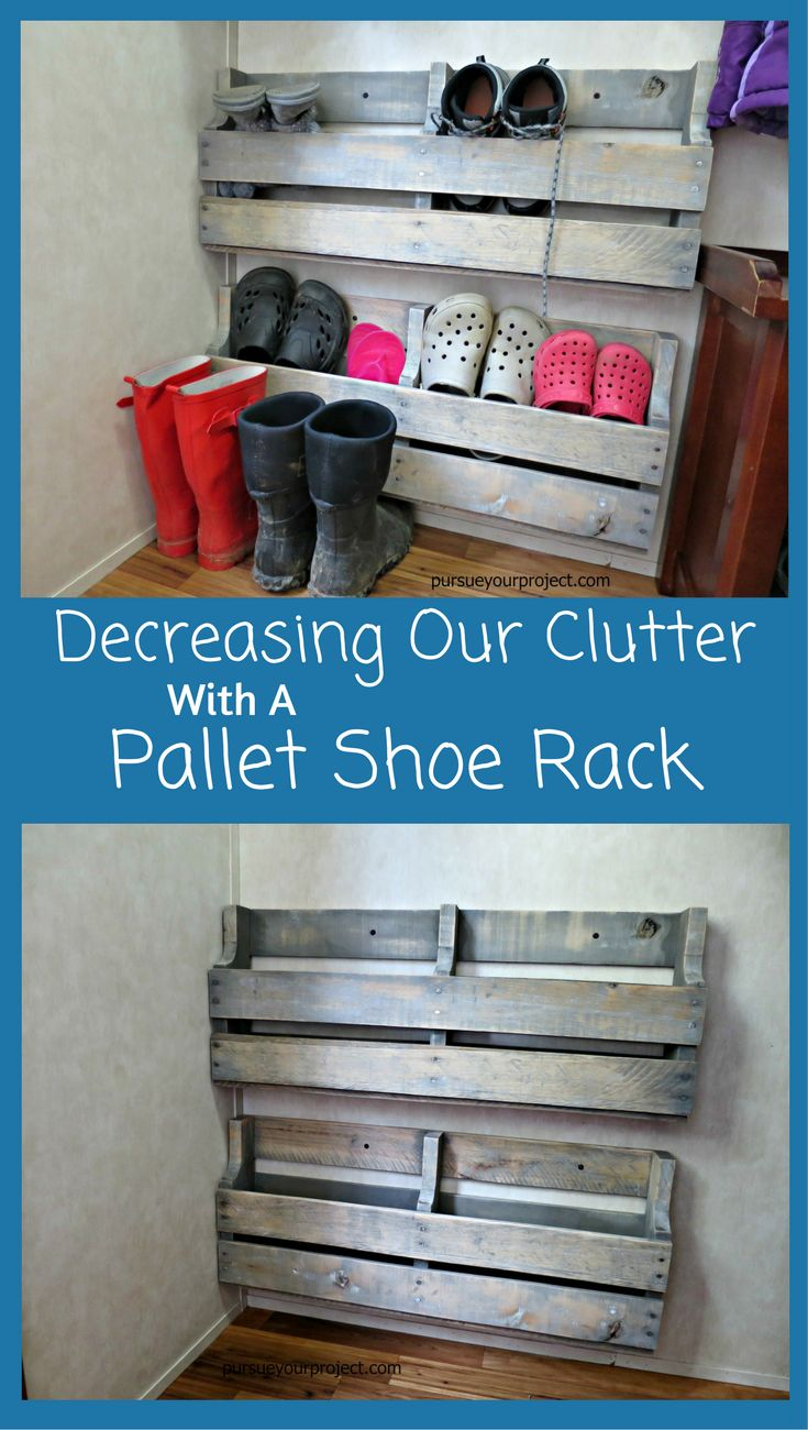 Decreasing Our Clutter With A Pallet Shoe Rack Diy Shoe
