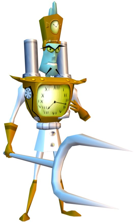 Doctor Nefarious Tropy's promotional design in Crash Bandicoot 3: Warped. From the Warped manual.