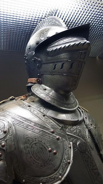 Closeup of Half armor made in Brescia Italy the principal supplier of the Republic of Venice 1580 CE etched and blackened steel (1) by mharrsch, via Flickr