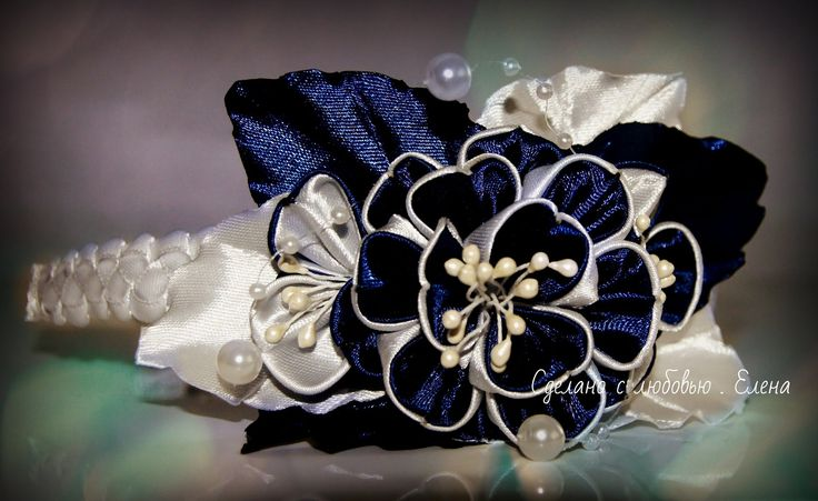 Flower Kanzashi Master Class hand made DIY Tutorial Канзаши МК Ободок дл...