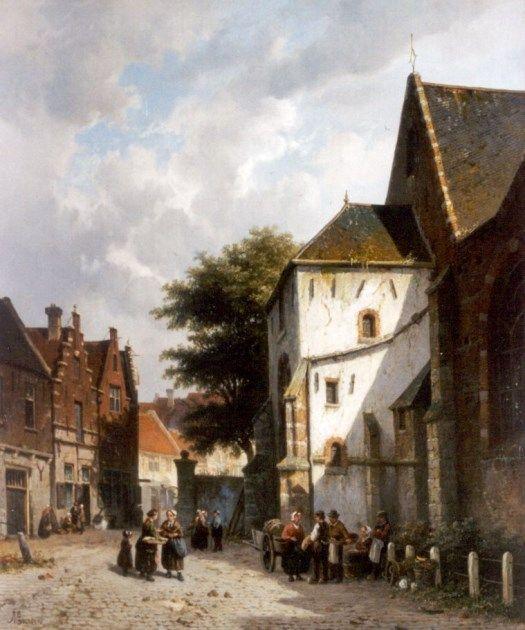 Adrianus Eversen (Amsterdam 1818-1897 Delft) Village square - Dutch Art Gallery Simonis and Buunk Ede, Netherlands.