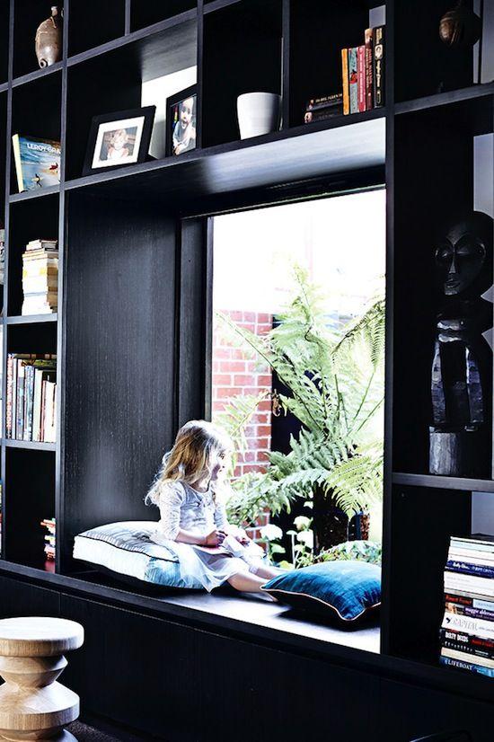Black book shelves and window nook #home #homedecor #interiordesign