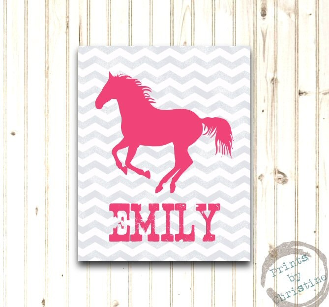 Horse Art Print Personalized Girls Bedroom Decor Custom Colors Rustic Modern Chevron Pink Gray 8x10.