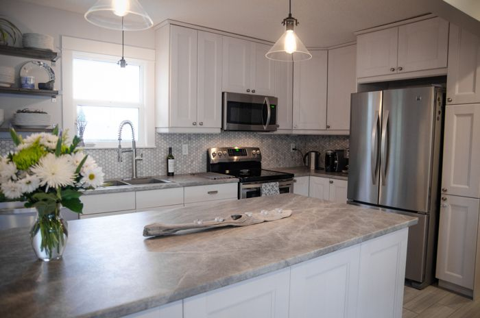 Before and After - DIY Kitchen Renovation with Formica laminate counter tops (180fx Soapstone Sequoia) flat finish