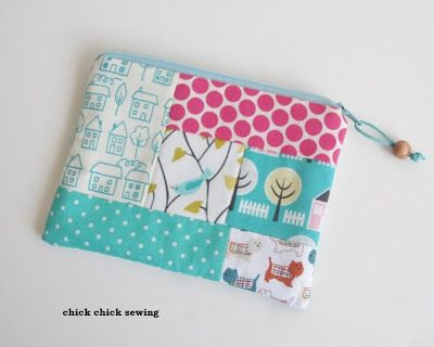 Scrappy bird pouch by chick chick sewing