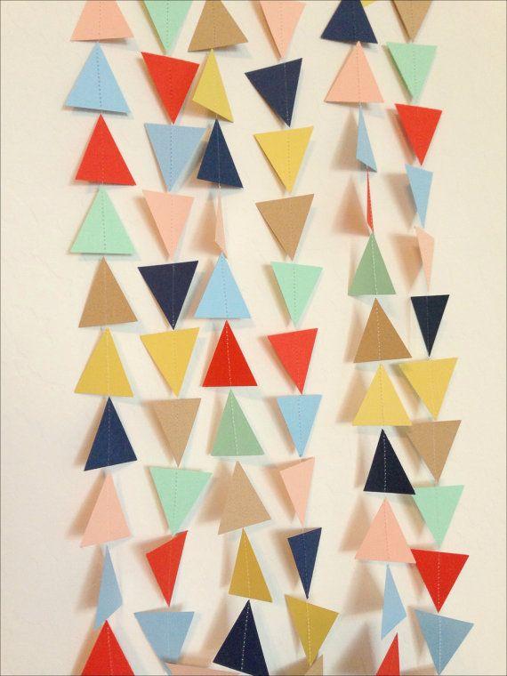 Mint Tan Red-Orange Yellow Navy Light Blue Blush Peach Geometric Triangle Garland - Baby Shower Garland, Birthday Garland, Party Decor