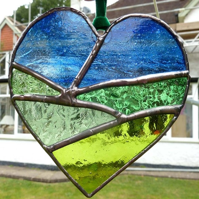 Stained Glass Heart with Field and Sky Lightcatcher £15.50