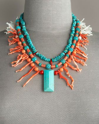 Stephen Dweck Coral and Turquoise Necklace - LOVE this piece! I think that I need to make it...
