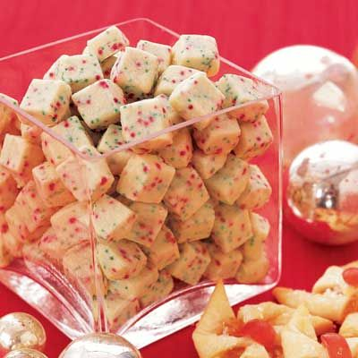 Shortbread is always a good option for Christmas, and this cube-shaped version is both easy to prepare and decorative. Recipe: Shortbread Bites   - CountryLiving.com