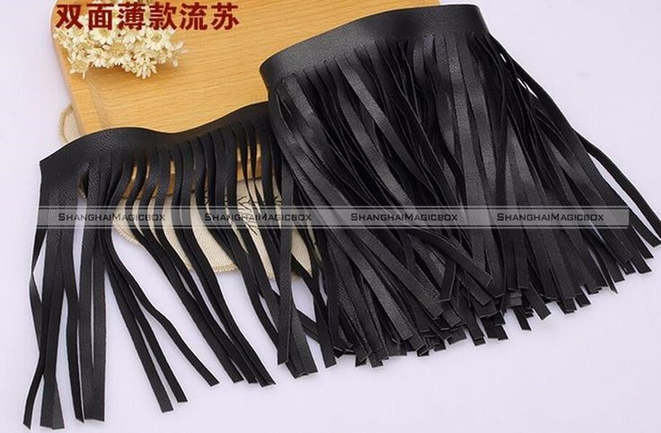 50cm Black Faux Leather Tassel Fringe Trimming DIY Boho Chic Crafts #SMB
