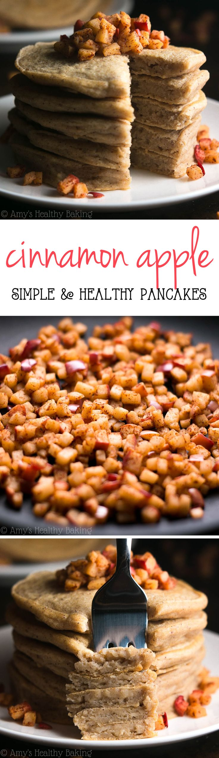 Healthy Cinnamon Apple Pancakes -- like eating apple pie for breakfast! And just 150 calories!