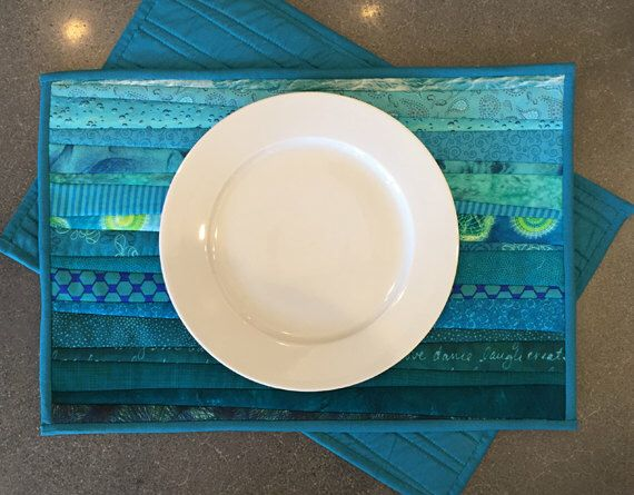 Washable quilted placemats. Handmade mats. Modern quilt. For the table. Nautical placemats. Modern home decor. Kitchen decor. Wedding gift. by AnnBrauer on Etsy https://www.etsy.com/listing/262141939/washable-quilted-placemats-handmade-mats