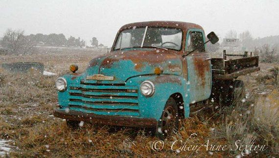 Winter Truck Art - Snowy Winter Storm Old Farm Truck - Rusty Red Turquoise Chevy Vintage - 8x12 Fine Art Giclee Photography Print