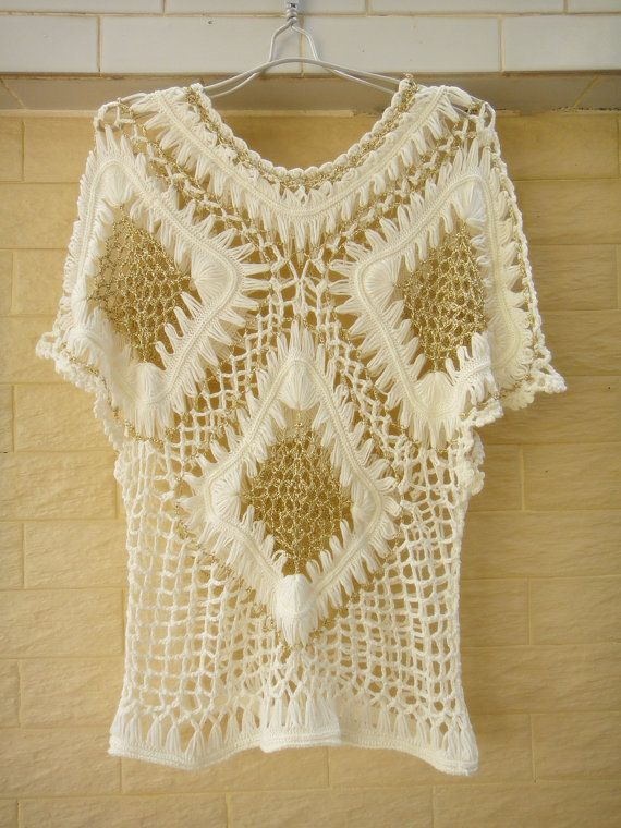 """Cap Sleeve Blouse Crochet Summer Geometric Top perfect for hot summer days and also an irreplaceable beachwear accessory that will make you look stunning! made with acrylic yarn in Standard size measured 22"""" in length 34-36"""" in bust and 10"""" from shoulder to sleeve"""