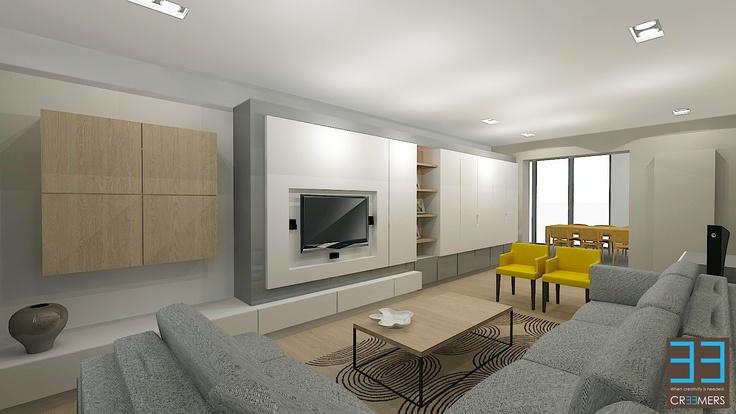 """Laagjes idee ok, tv tegen muur, geen schappen, combinatie gedeelte in hout opm. Trui: niet te veel lagen/kleuren: kast-muur mag niet te dominant """"aanwezig"""" zijn"""