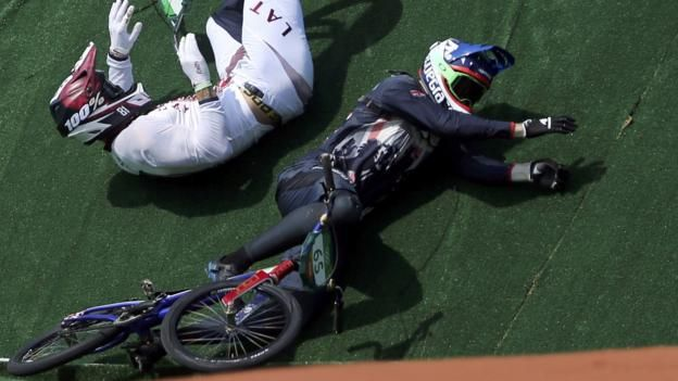 Liam Phillips had reckoned he was in with a chance of a medal, but all his hopes ended here in the first heat of the first round of the BMX. 18th August 2016