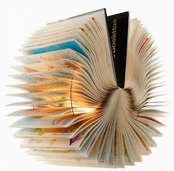 Alte Bücher als Lampenschirme originell