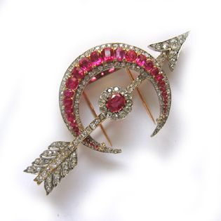 A late Victorian Mogok ruby and diamond brooch