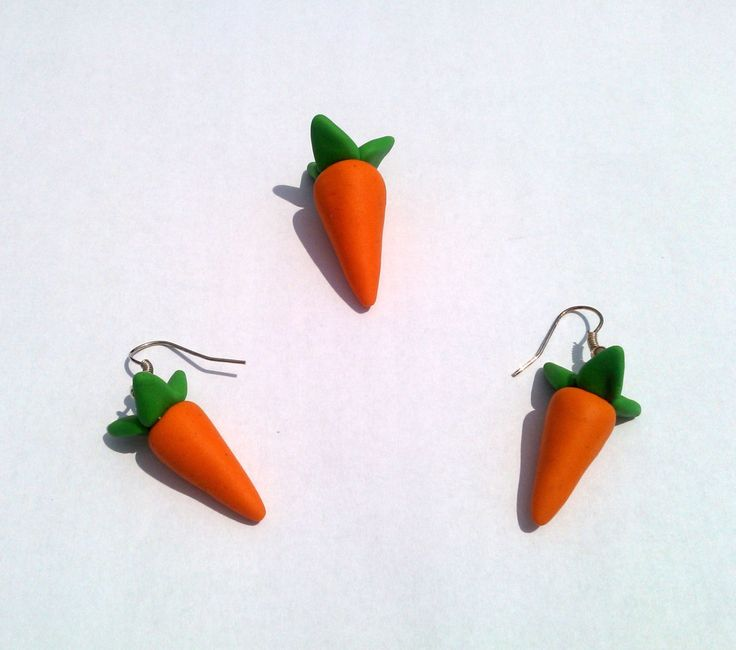 Carrot Set Earrings Pendant Handmade Polymer Clay by MultiCrea on Etsy