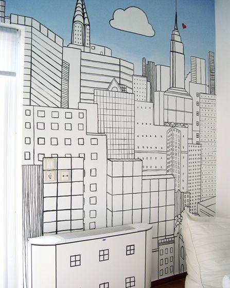 Ζωγραφική στον τοίχο σε δωμάτιο εφήβου με ασπρόμαυρο σκίτσο του Manhattan και ombre τεχνοτροπία. Δείτε περισσότερες ιδέες διακόσμησης για το παιδικό ή εφηφικό δωμάτιο στη σελίδα μας www.artease.gr