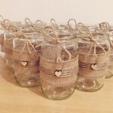 X12 Wedding Decorations Hessian Twine Heart Jam Jars Rustic Country Shabby Chic (Decorated Bottle And Jars)