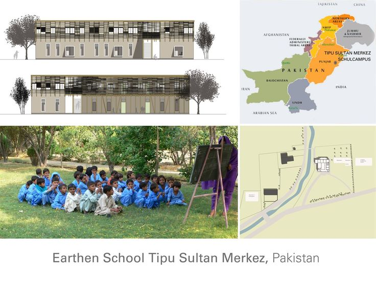 This school project in the small village of Jar Maulwi, 35km northwest of Lahore, is an extension of the existing Tipu Sultan Merkez School, which has provided education for underprivileged rural girls for more than ten years. The new two-story building will provide seven new classrooms. The building was completed in March 2013 and is made from locally-sourced cob and bamboo. The structure is divided into two compact parts connected by a light gallery to mitigate earthquake risk.