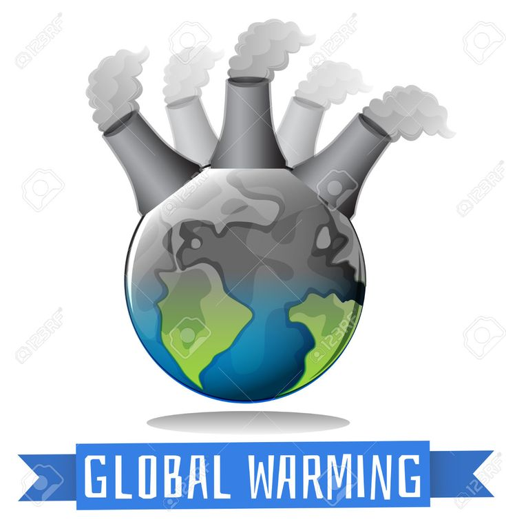Vector - Global warming theme with earth and factory illustration