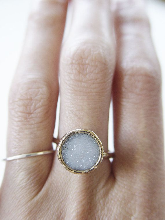 Vanilla druzy Ring OOAK Gold Filled by #friedasophie