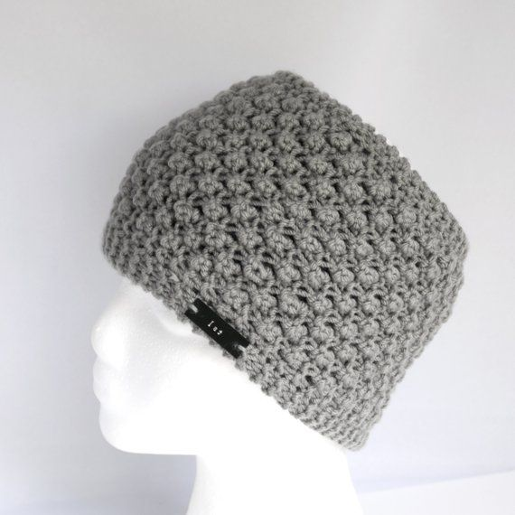 8774a93729d Holey Hat with Satin Lining - Gray Messy Bun Knit Hat Alternative - Non  Wool Winter Turban - Wide He