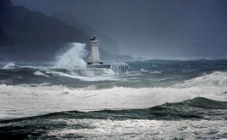 lighthouse with crashing waves | Shells, Rocks and Waves ...