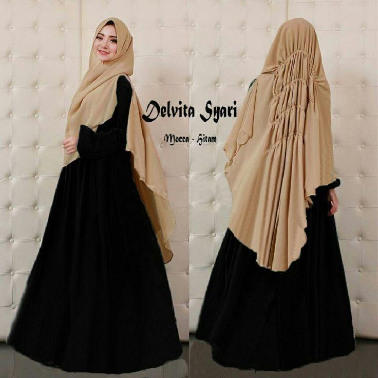 Baju Muslim Gamis Syar'i Delvita Syari Mocca-Hitam - http://warongmuslim.com/baju-muslim-gamis-syari-delvita-syari-mocca-hitam.html