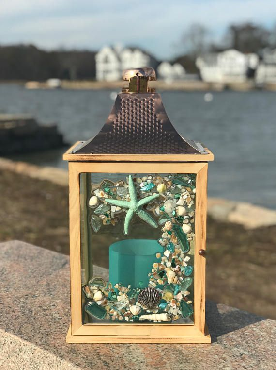 Large Beach Glass Lantern with Shells and Starfish Glass Art