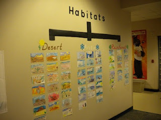 Cristina and Jill -   What if each of our class studied one habitat and we created this collaborative bulletin board.  Then each class teach another class - through drama, or presentation about the habitat they studied? I like Michelle!